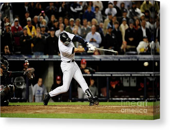 People Canvas Print featuring the photograph Derek Jeter by Jeff Zelevansky