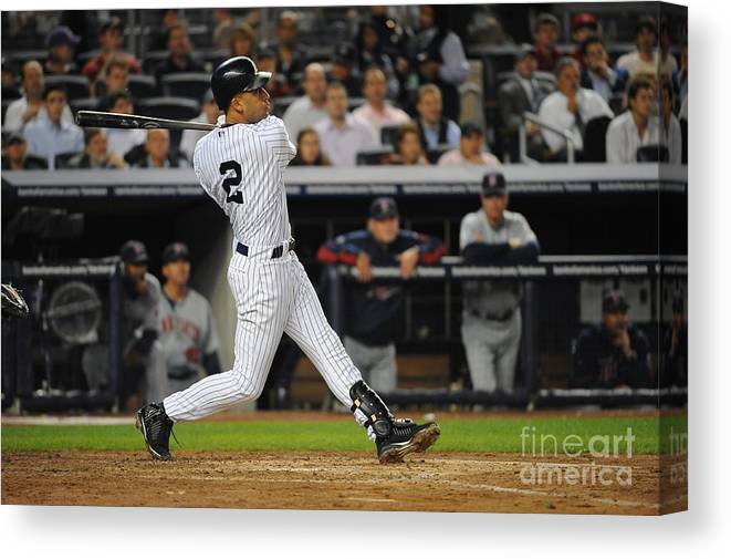 Playoffs Canvas Print featuring the photograph Derek Jeter by Rich Pilling