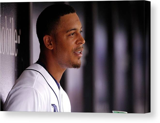 Second Inning Canvas Print featuring the photograph Desmond Jennings by Brian Blanco