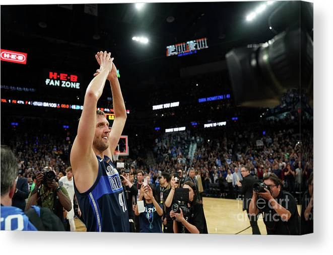 Nba Pro Basketball Canvas Print featuring the photograph Dirk Nowitzki by Darren Carroll