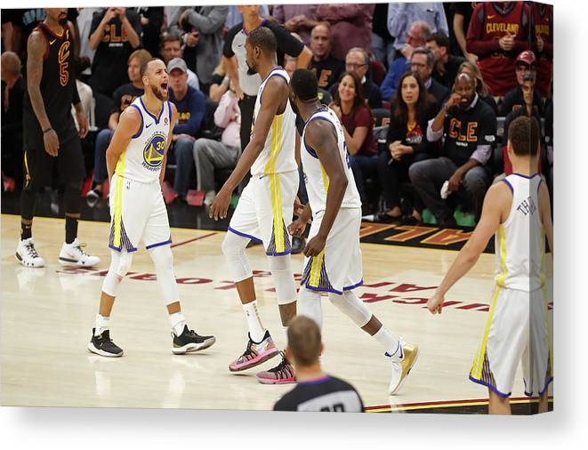 Playoffs Canvas Print featuring the photograph Draymond Green, Stephen Curry, and Kevin Durant by Mark Blinch