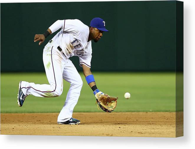 People Canvas Print featuring the photograph Elvis Andrus by Sarah Crabill