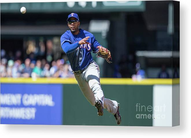 American League Baseball Canvas Print featuring the photograph Elvis Andrus by Stephen Brashear