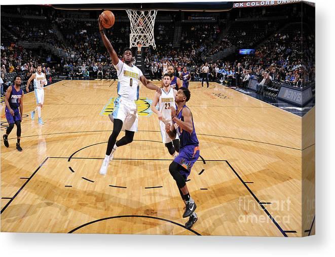 Nba Pro Basketball Canvas Print featuring the photograph Emmanuel Mudiay by Garrett Ellwood