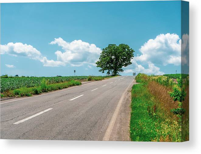 Scenics Canvas Print featuring the photograph Empty Road by Liyao Xie