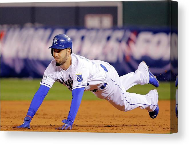 Second Inning Canvas Print featuring the photograph Eric Hosmer by Doug Pensinger