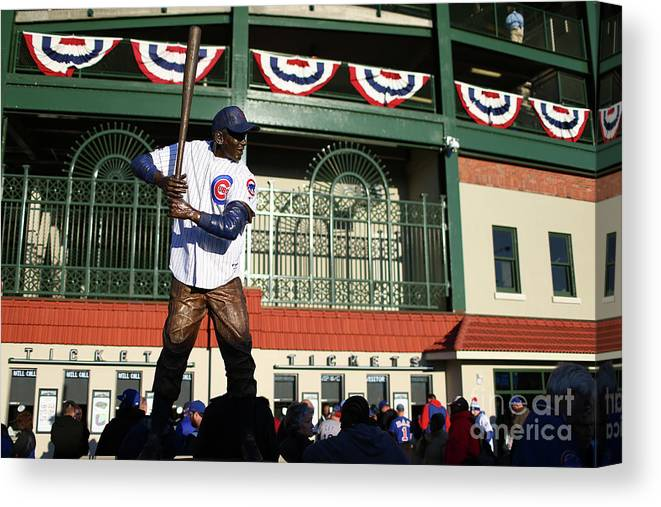 Playoffs Canvas Print featuring the photograph Ernie Banks by Alex Trautwig
