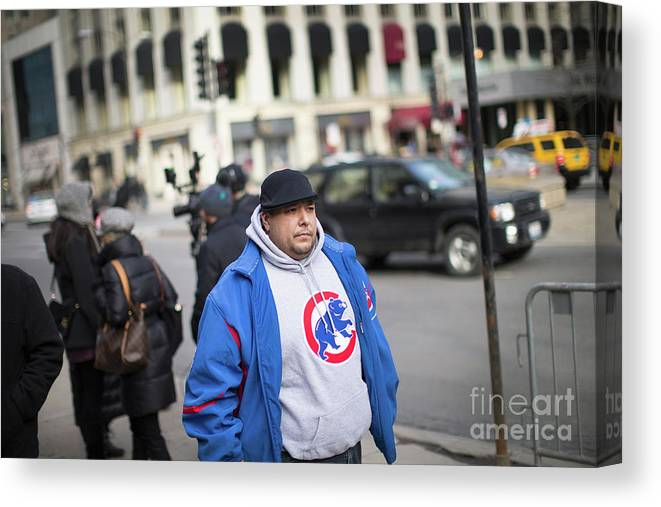 People Canvas Print featuring the photograph Ernie Banks by Scott Olson
