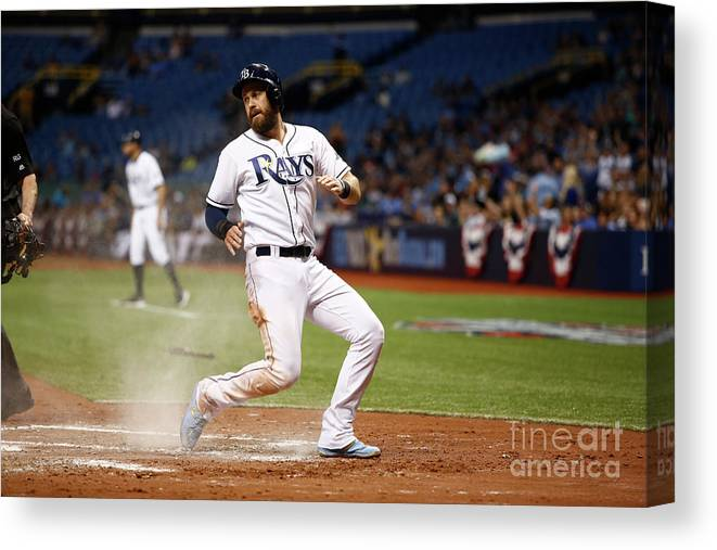 Second Inning Canvas Print featuring the photograph Evan Longoria and Derek Norris by Brian Blanco