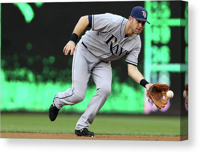 Second Inning Canvas Print featuring the photograph Evan Longoria by Patrick Smith