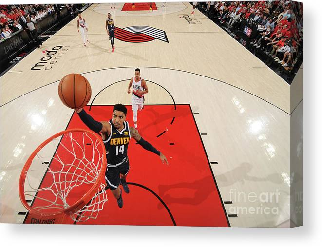 Nba Pro Basketball Canvas Print featuring the photograph Gary Harris by Cameron Browne
