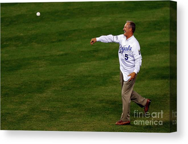 Game Two Canvas Print featuring the photograph George Brett by Ed Zurga