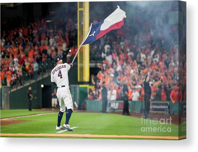 People Canvas Print featuring the photograph George Springer by Billie Weiss/boston Red Sox