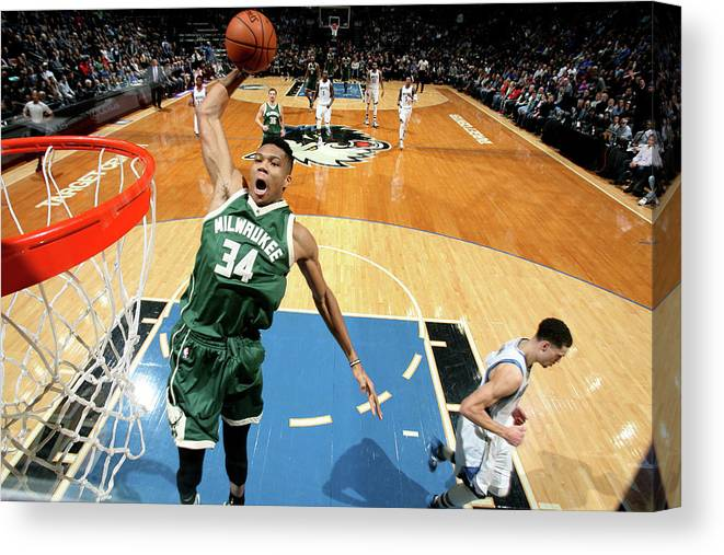 Nba Pro Basketball Canvas Print featuring the photograph Giannis Antetokounmpo by David Sherman