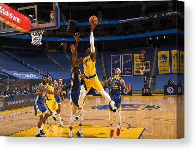 San Francisco Canvas Print featuring the photograph Indiana Pacers v Golden State Warriors by Noah Graham