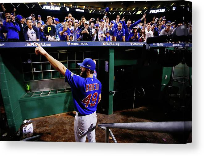 Playoffs Canvas Print featuring the photograph Jake Arrieta by Jared Wickerham