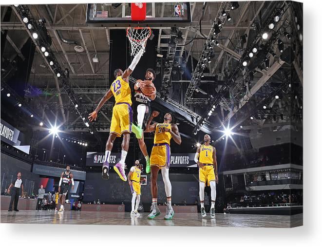 Nba Pro Basketball Canvas Print featuring the photograph Jamal Murray and Lebron James by Garrett Ellwood