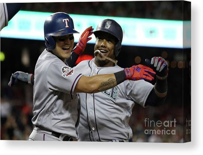 People Canvas Print featuring the photograph Jean Segura and Shin-soo Choo by Patrick Smith