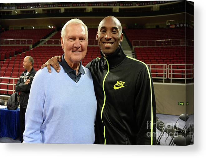 Nba Pro Basketball Canvas Print featuring the photograph Jerry West and Kobe Bryant by Andrew D. Bernstein