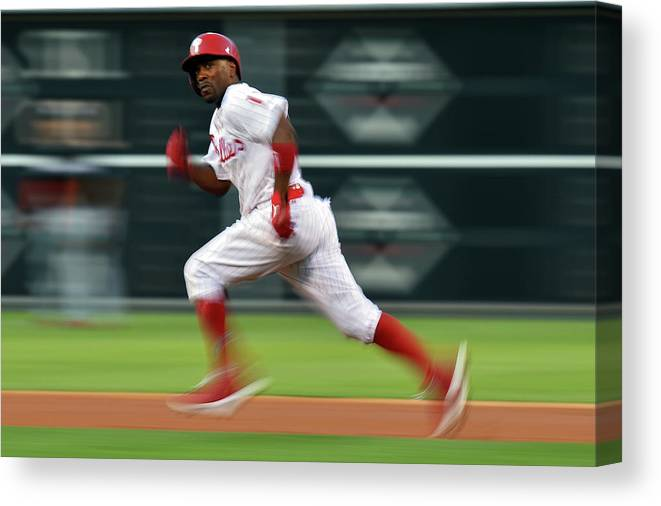 2nd Base Canvas Print featuring the photograph Jimmy Rollins by Drew Hallowell