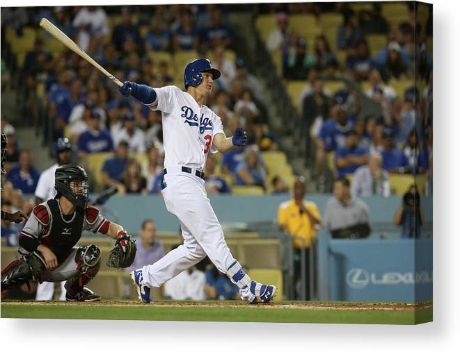 Second Inning Canvas Print featuring the photograph Joc Pederson by Stephen Dunn