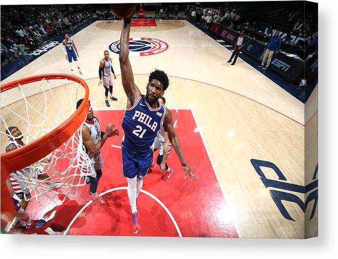 Playoffs Canvas Print featuring the photograph Joel Embiid by Ned Dishman