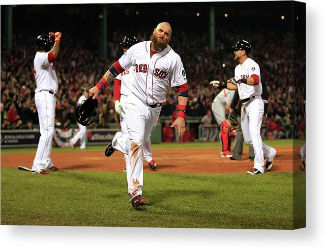 Playoffs Canvas Print featuring the photograph Jonny Gomes and Shane Victorino by Jamie Squire