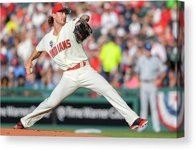 American League Baseball Canvas Print featuring the photograph Josh Tomlin by Jason Miller