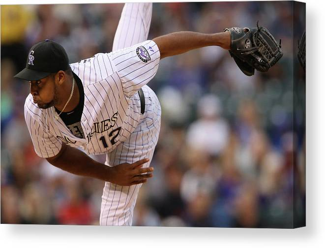 American League Baseball Canvas Print featuring the photograph Juan Nicasio by Doug Pensinger