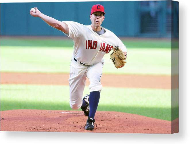 American League Baseball Canvas Print featuring the photograph Justin Masterson by Jason Miller