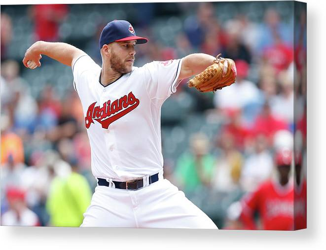 American League Baseball Canvas Print featuring the photograph Justin Masterson by Joe Robbins