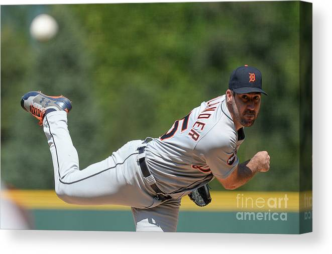 People Canvas Print featuring the photograph Justin Verlander by Dustin Bradford