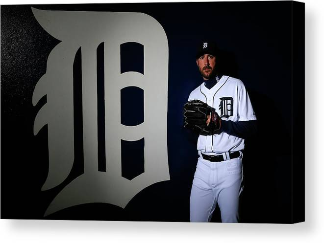 Media Day Canvas Print featuring the photograph Justin Verlander by Kevin C. Cox