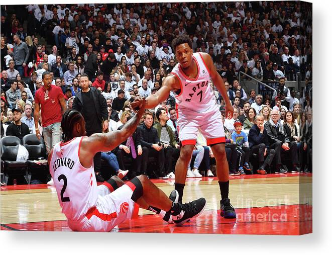 Playoffs Canvas Print featuring the photograph Kawhi Leonard and Kyle Lowry by Jesse D. Garrabrant