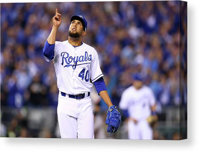 Game Two Canvas Print featuring the photograph Kelvin Herrera by Elsa
