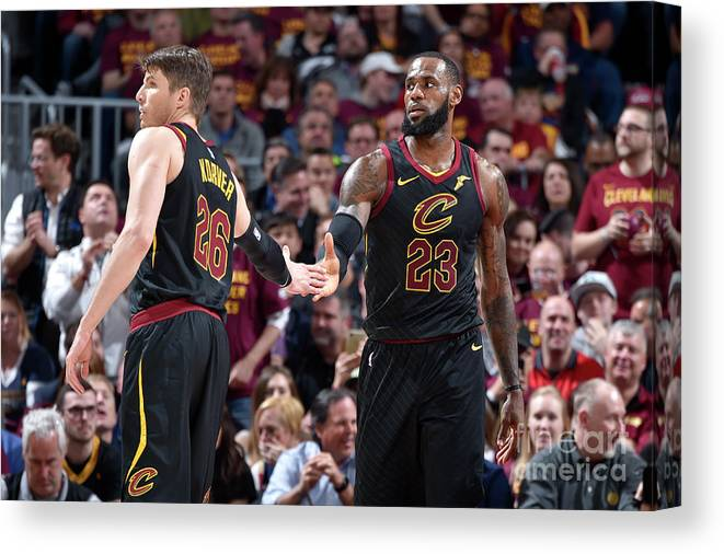 Playoffs Canvas Print featuring the photograph Kevin Love and Lebron James by David Liam Kyle