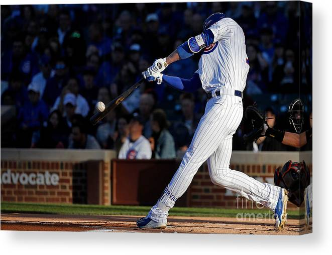 People Canvas Print featuring the photograph Kris Bryant by Jon Durr