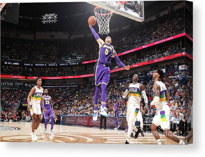 Smoothie King Center Canvas Print featuring the photograph Kyle Kuzma by Nathaniel S. Butler