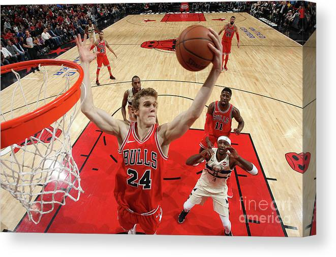 Chicago Bulls Canvas Print featuring the photograph Lauri Markkanen by Gary Dineen
