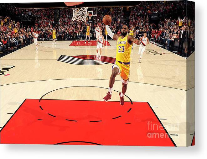Nba Pro Basketball Canvas Print featuring the photograph Lebron James by Cameron Browne