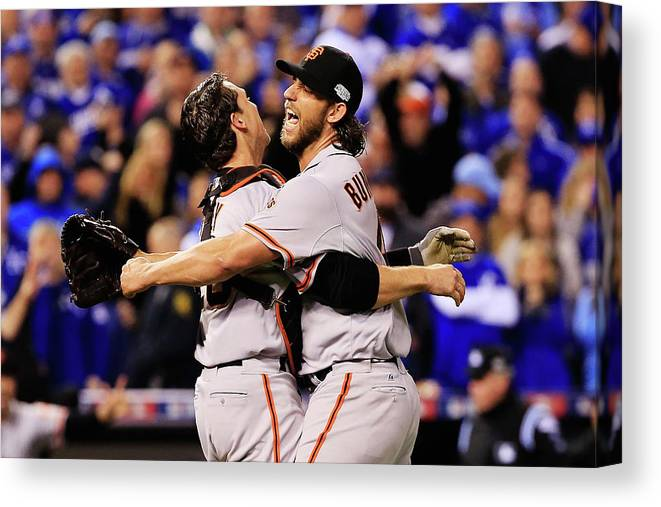 People Canvas Print featuring the photograph Madison Bumgarner and Buster Posey by Jamie Squire