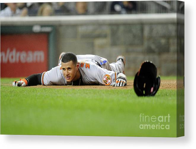 People Canvas Print featuring the photograph Manny Machado by Greg Fiume