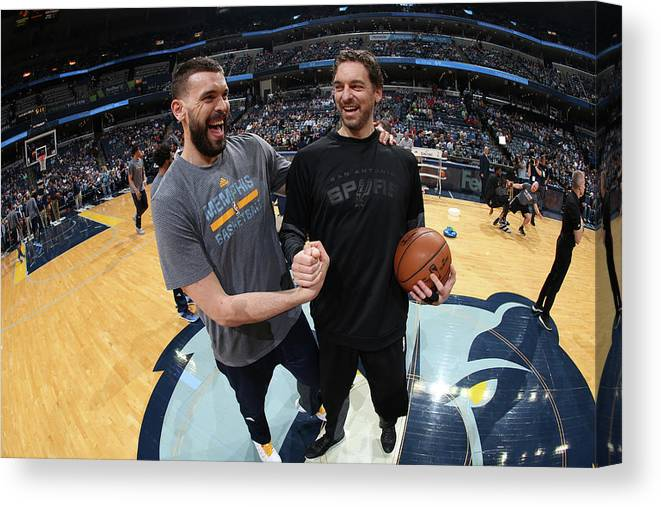 Nba Pro Basketball Canvas Print featuring the photograph Marc Gasol and Pau Gasol by Joe Murphy