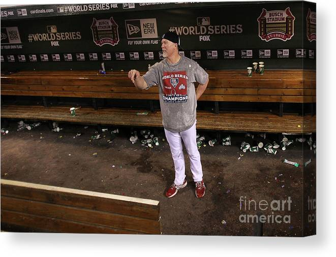St. Louis Cardinals Canvas Print featuring the photograph Mark Mcgwire by Ezra Shaw