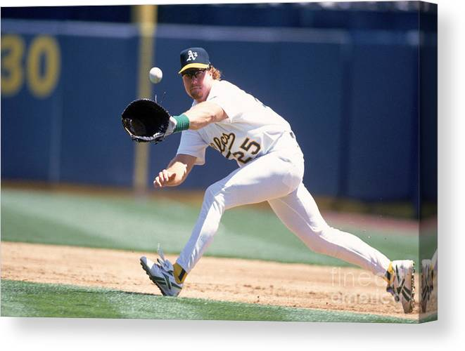 1980-1989 Canvas Print featuring the photograph Mark Mcgwire by Jeff Carlick