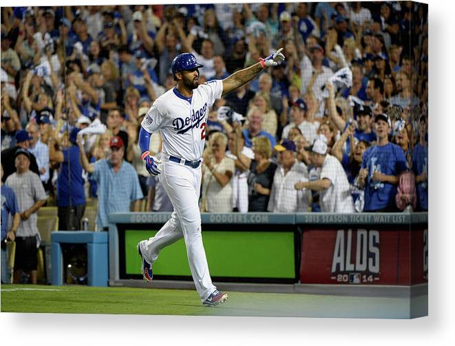Game Two Canvas Print featuring the photograph Matt Kemp by Harry How