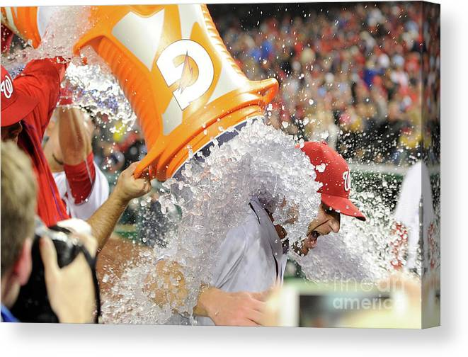 People Canvas Print featuring the photograph Max Scherzer by Greg Fiume