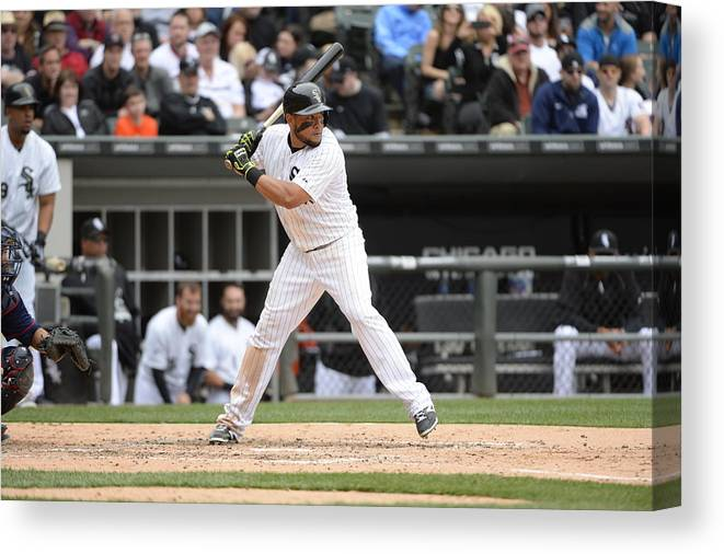 American League Baseball Canvas Print featuring the photograph Melky Cabrera by Ron Vesely
