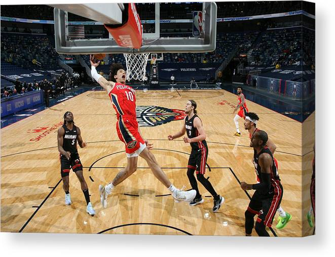 Smoothie King Center Canvas Print featuring the photograph Miami Heat v New Orleans Pelicans by Layne Murdoch Jr.