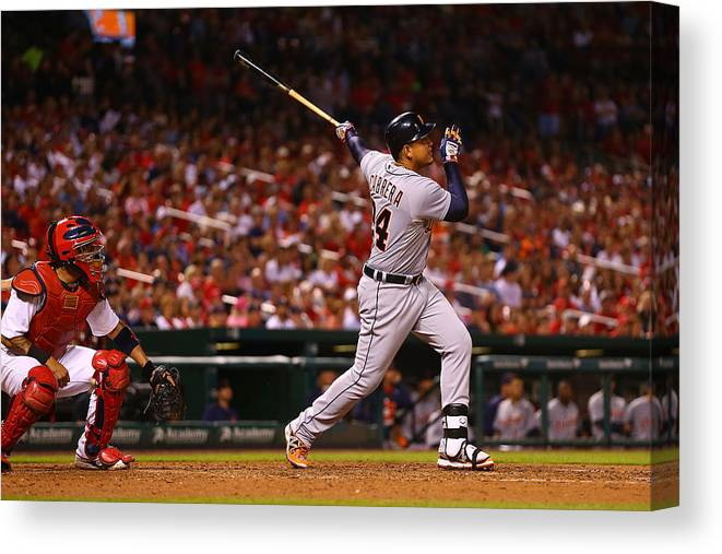 People Canvas Print featuring the photograph Miguel Cabrera by Dilip Vishwanat